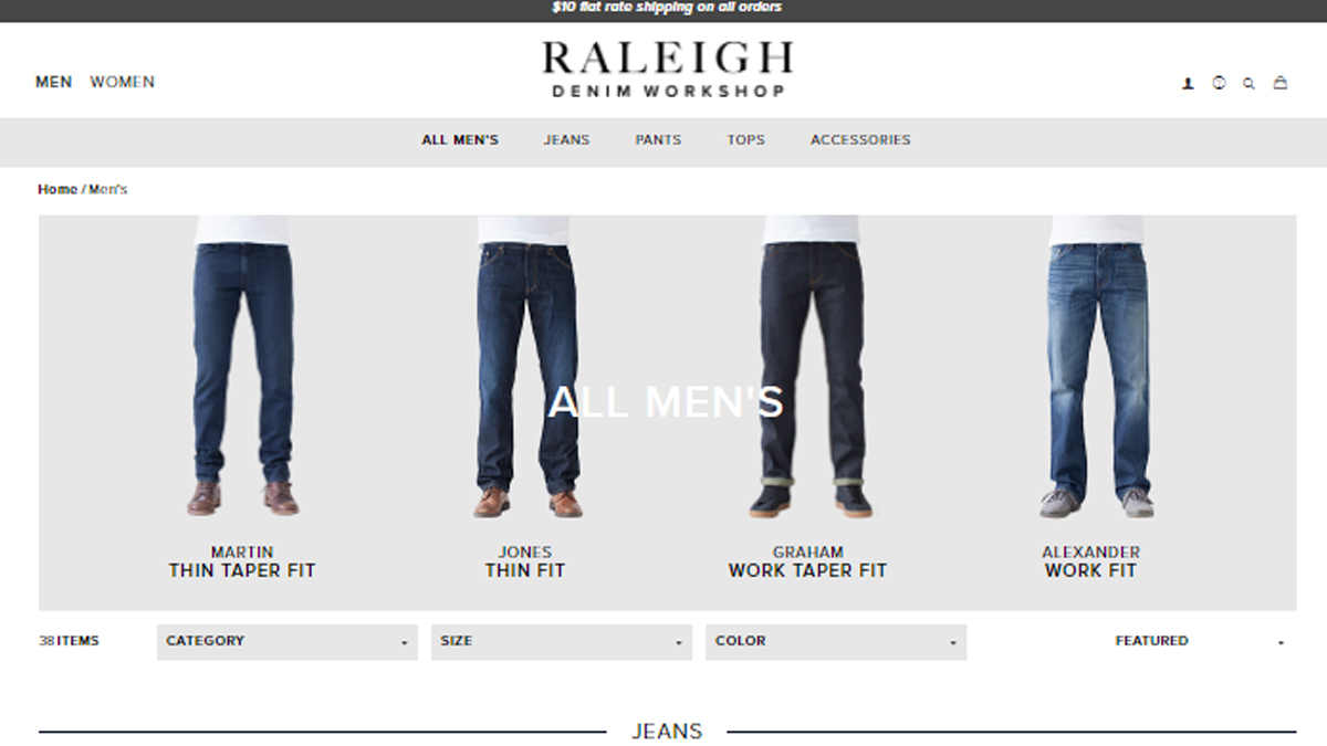Raleigh Denim Website